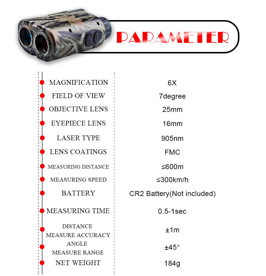 BIJIA 600M Laser Rangefinder with LCD Display and Distance/Golf Mode Used as Angle Measuring Tool 8