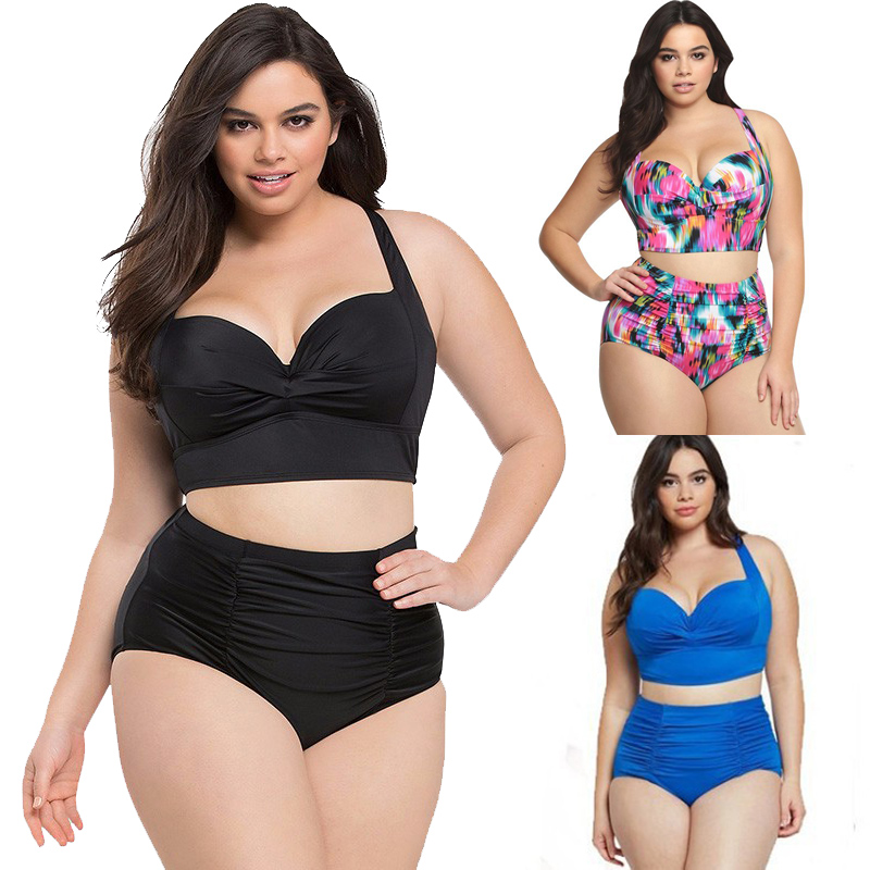 4XL Plus Size Bikini Set Women Swimsuit Large High Waisted Bathing Suits Swimwear Brazilian Bikinis  2019 Sexy 2 Piece Swim Suit