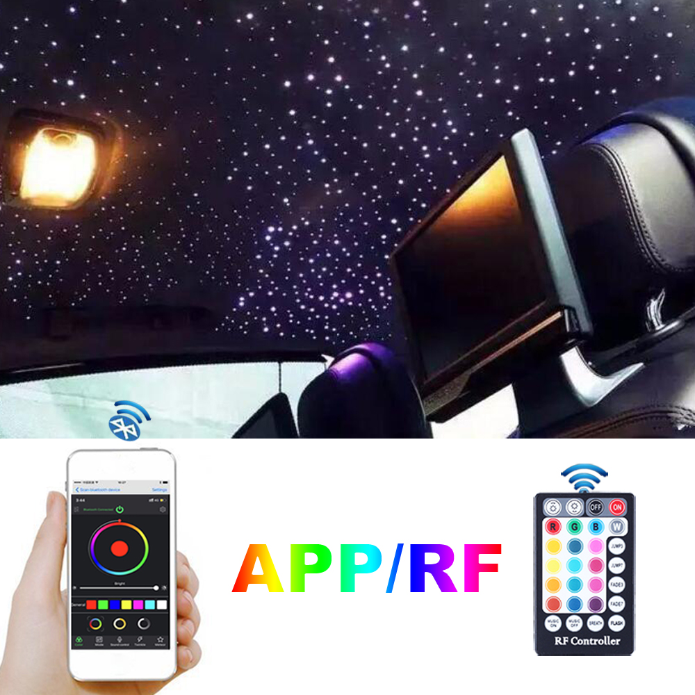 Car Roof Star Lights DC12V 6W RGB LED Plastic Fiber Optic Light RF Remote Control 2M 0.75mm 100~200pcs Optical fiber Lighting 5