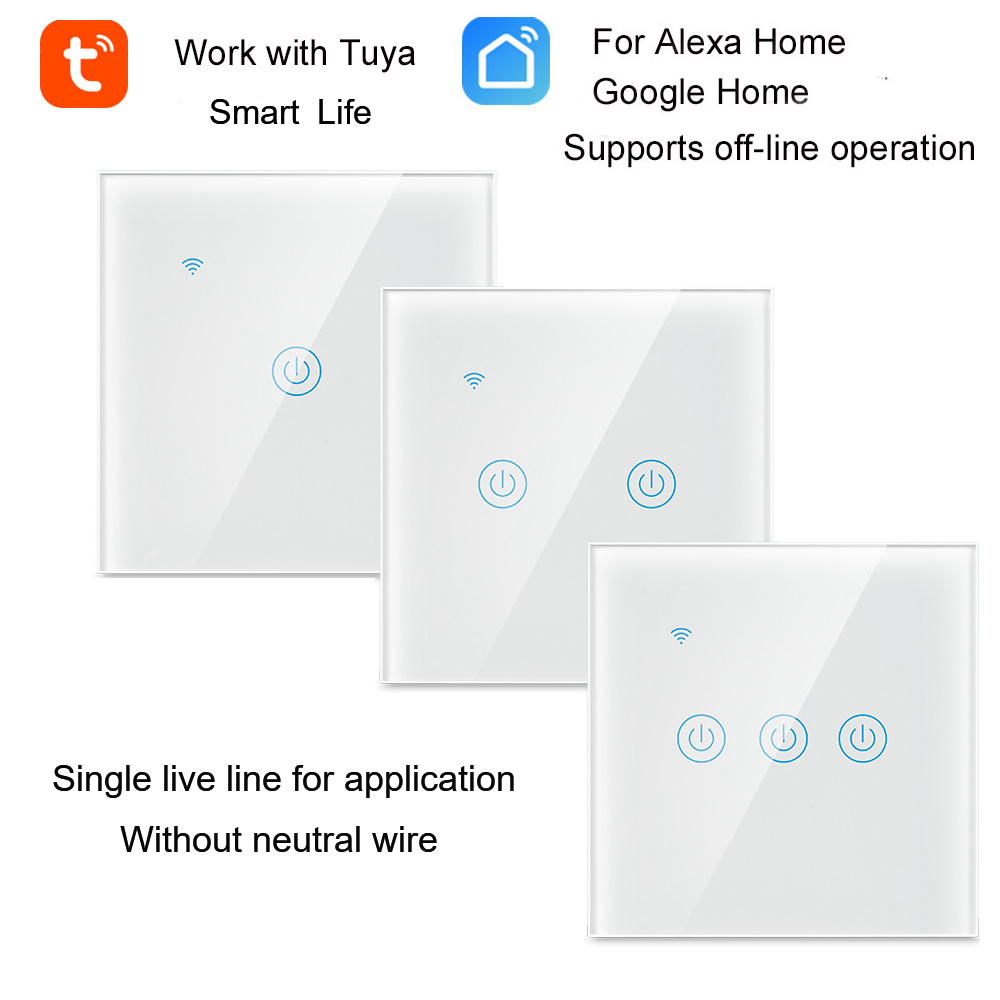 1/2/3 Gang 1 Way Tuya WiFi Smart Switch Wall Light Switch WiFi Single live line for application without neutral wireSwitches   -