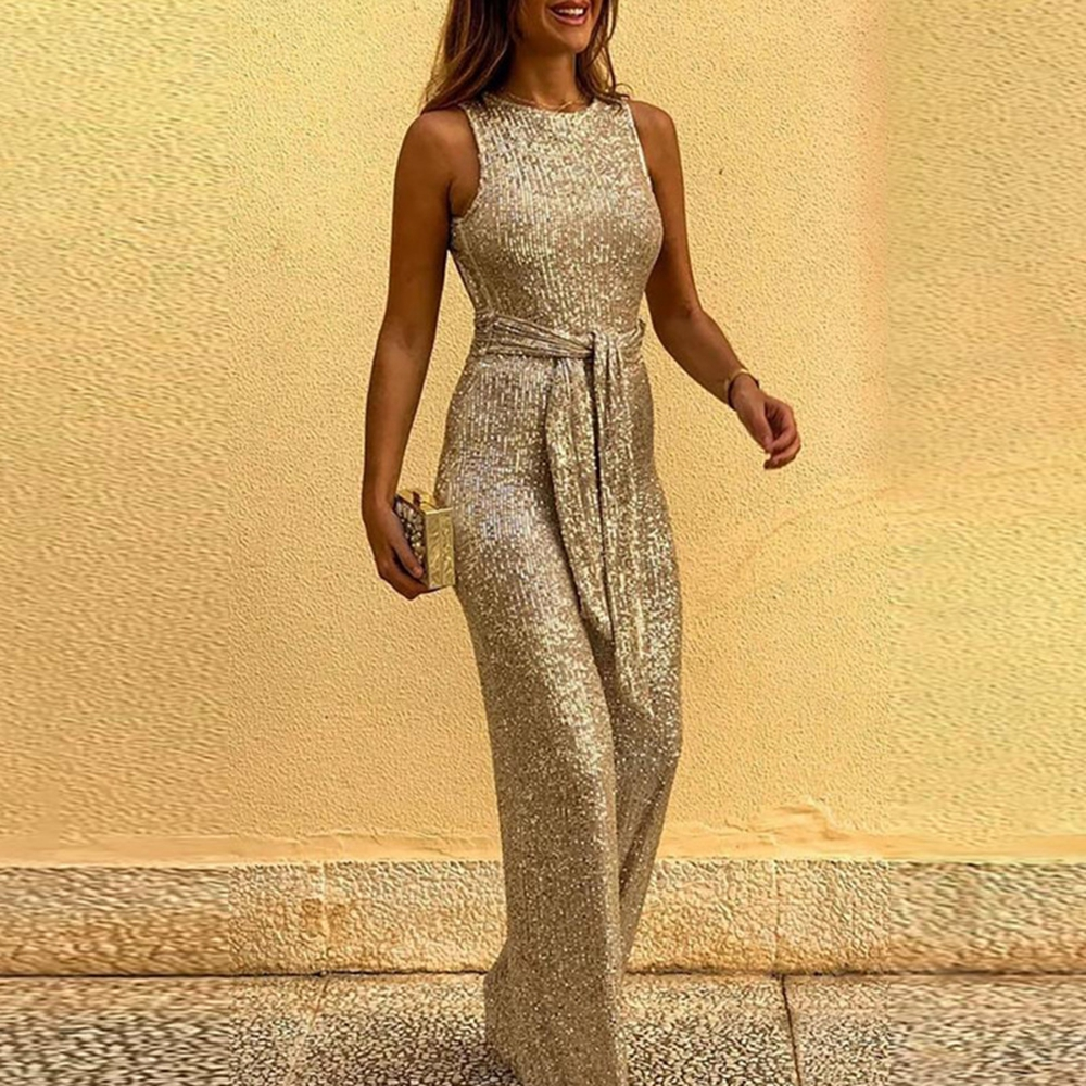 STYLISH LADY Shiny Sequin Rompers And Jumpsuits 2020 Autumn Women Sleeveless O Neck Backless Elegant Wide Leg Club Party Overall