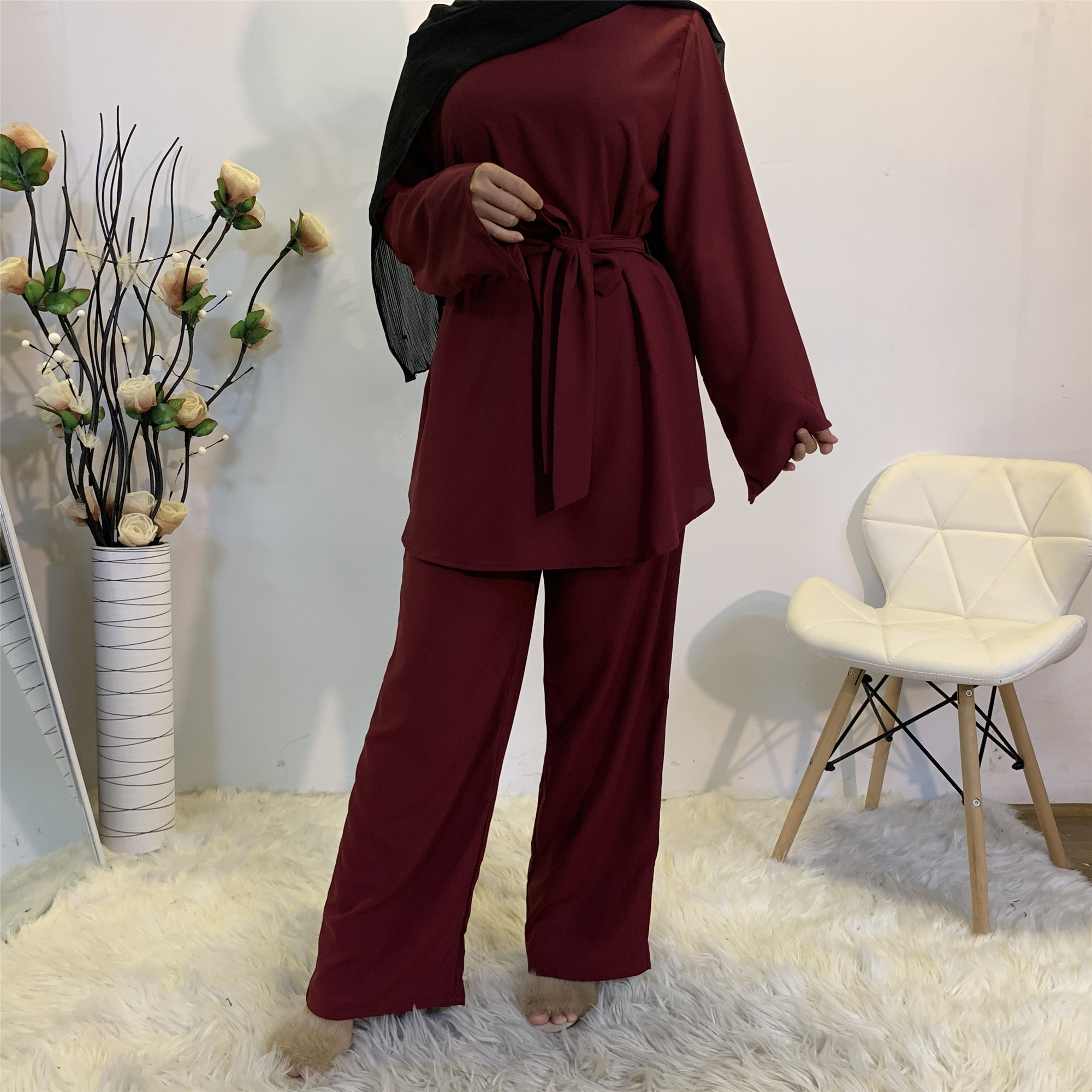2 Piece Set Women Muslim Sets Hijab Dress Turkish Top and Pants Islamic Clothing Abaya Dubai Suit Eid Mubarak Musulman Ensembles