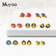 Lucu Sly Lucu Burung Beo Burung Albatross Penguin Ayam Merak Kartun Epoxy Resin Perhiasan Anting-Anting Stainless Steel Pin Anting-Anting(China)