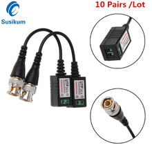 10 Pairs Coax CAT5 Camera CCTV Passive BNC Video Balun To UTP Transceiver Connector 2000ft Distance Twisted Cable