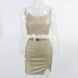 Image 5 - Perles paillettes Sexy ensemble deux pièces haut court et jupe côté fendu dos nu 2 pièces ensemble femmes moulante Mini robe 2020