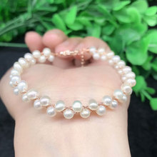New Natural Pearl Bracelet Fashion 4MM Pearl Women's Round Beads Single Ring Bracelet Jewelry Gifts