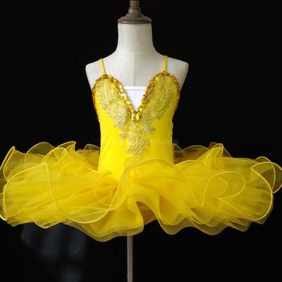 Г. Детское балетное платье Пушистый костюм платье принцессы платье для танцев с изображением маленького лебедя платье для выступлений для девочек, Costumeflower, платья для девочек - Цвет: yellow