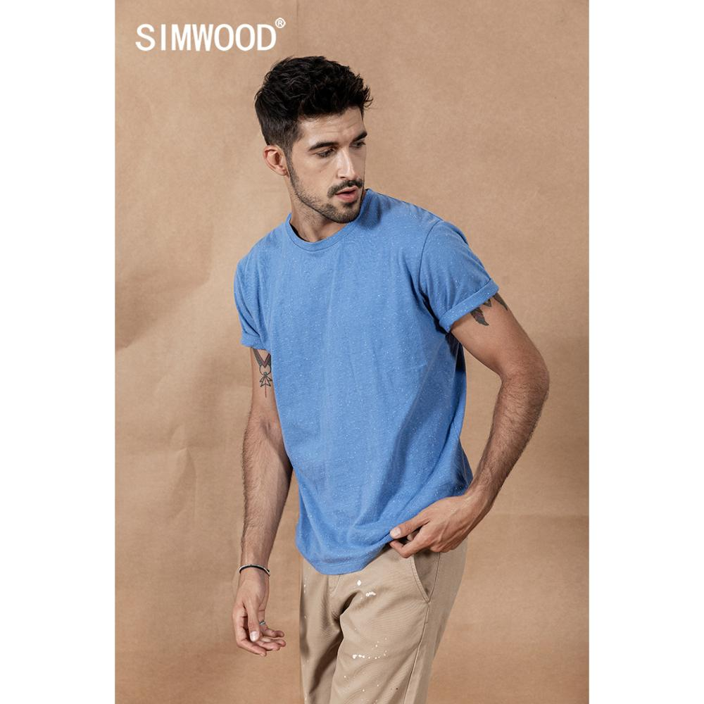 SIMWOOD 2020 Summer New Color Cotton Yarn Dot Neckline T-Shirt Men  Tops High Quality Plus Size Brand Clothing 190475