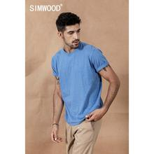 SIMWOOD 2020 yaz yeni renk pamuk ipliği nokta yaka T Shirt erkekler Tops yüksek kalite artı boyutu marka giyim 190475