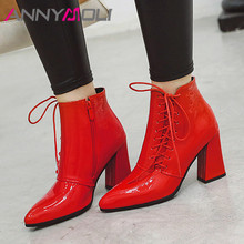 Купить с кэшбэком ANNYMOLI Winter Ankle Boots Women Patent Leather Thick Heels Short Boots Zip Extreme High Heel Shoes Ladies Fall Red Size 34-43