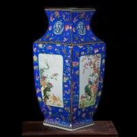 FOCUSDECOR Blue Color Chinese Antique Vintage Vases Square Shaped Palace Garden Qianlong Design Porcelain Vase 18 Inches For Liv