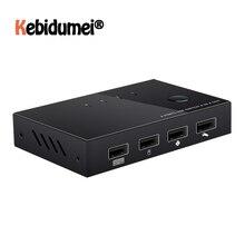Новейший USB KVM-коммутатор, 4-портовый видеодисплей, USB-переключатель KVM, разветвитель для 4 ПК, совместный принтер, клавиатура, мышь, квм