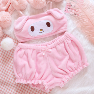 Image 2 - OJBK Pink And White Kwaii Velvet Tube Top And Panties Set For Girls Adorable Underwear Anime Long Ear Doggy Bra and bloomers