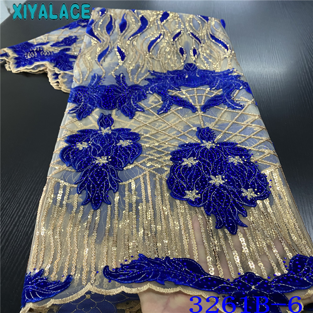 Royal Blue Velvet Lace Fabric Hot Sale Sequin Net Laces African Fabrics Lace French Velvet With Stones For Wedding Party KS3261B