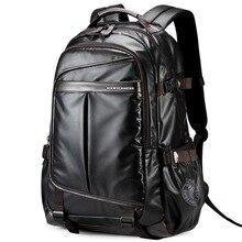 Wodoodporny plecak na laptopa wysokiej klasy męska wielofunkcyjny biznes wodoodporna torba podróżna syntetyczna skóra komputer Packsack