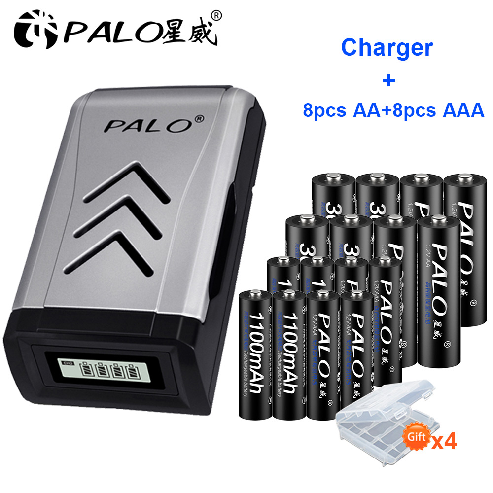 PALO 8PCS 1.2V NI-MH Aa AA Rechargeable Batteries + 8PCS 1.2V Aaa AAA Rechargeable Battery+smart Intelligent USB Battery Charger