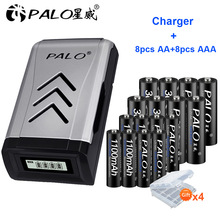 PALO 8PCS 1.2V NI-MH aa AA rechargeable batteries + 8PCS 1.2V aaa AAA rechargeable battery+smart intelligent USB Battery Charger цена 2017