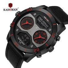 KADEMAN Digital Analog Men Watch TOP Brand Waterproof Chronograph Leather Sport