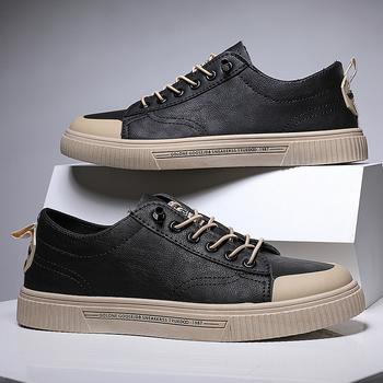 Mężczyźni buty Vulcanize trampki oddychające męskie obuwie Outdoor Walking męskie wkładane wiązane płaskie buty męskie buty Tenis Masculino tanie i dobre opinie WIENJEE CN (pochodzenie) Na wiosnę jesień ZSZYWANE Stałe Adult NONE Shoes Men elastyczna opaska Niska (1 cm-3 cm) Dobrze pasuje do rozmiaru wybierz swój normalny rozmiar
