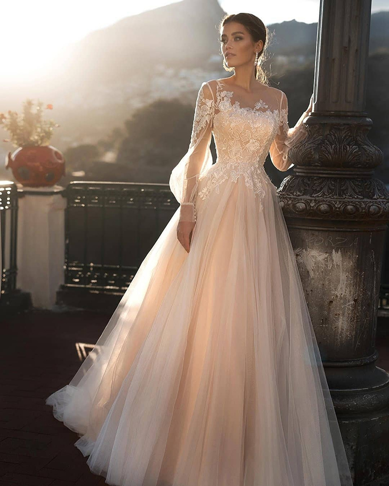 Verngo A Line Wedding Dress Light Pink Wedding Gowns Elegant Bride