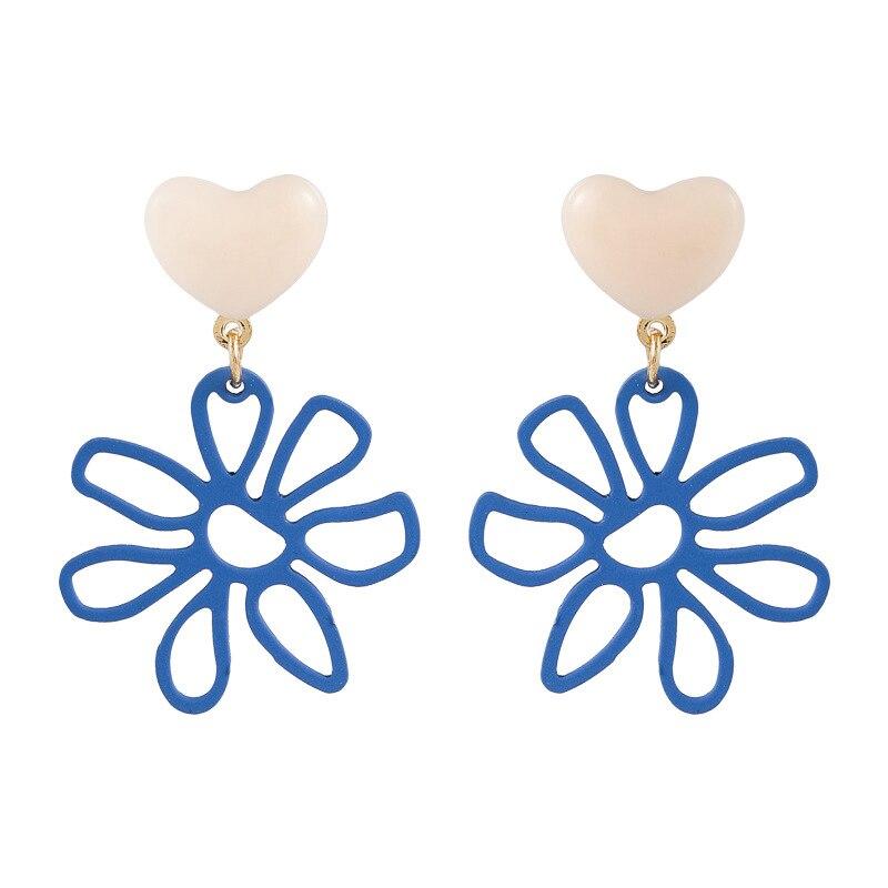 Купить симпатичные синие цветные простые висячие серьги в форме цветка