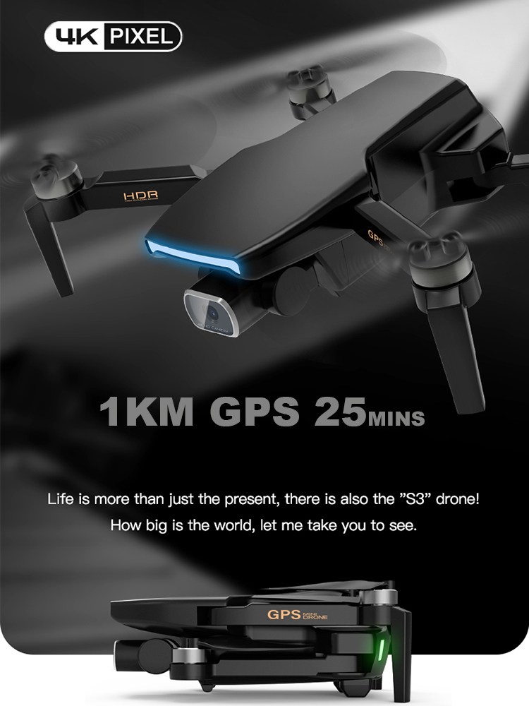 Gps-Drone Camera Rc Quadcopter Rc-Distance Professional Wifi Fema S3 with 4k HD 5G Brushless