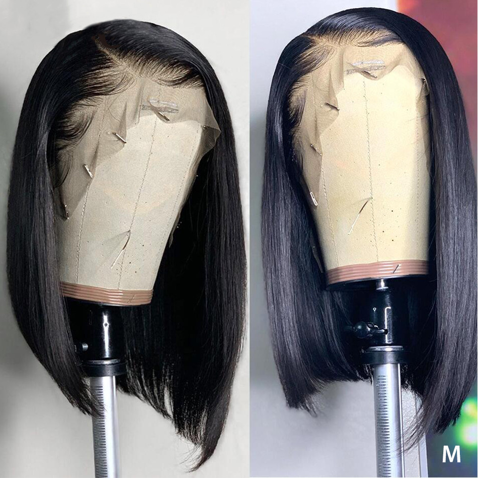 Short Bob Wigs Brazilian 13x4 Lace Front Human Hair Wigs Straight Lace Frontal Wig Pre-Plucked Bleached Knot Remy 150 Density