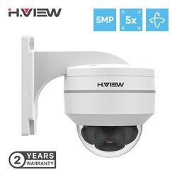 H. view 5mp poe câmera ip ptz cctv segurança vigilância h.265 ao ar livre à prova dh.2água 5x zoom óptico dome câmeras para poe nvr onvif