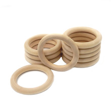5pcs 55mm/68mm Baby Wooden Teething Rings Beech Natural Wooden Baby Toys Safe Baby Teether Necklace Bracelet Making DIY Material