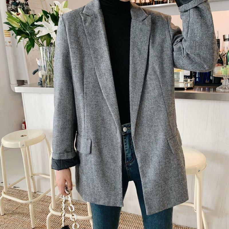 Women Casual Open Stitch Gray Outerwear Solid Long Sleeve Pockets Lady Suit Office Notched Collar Blazers