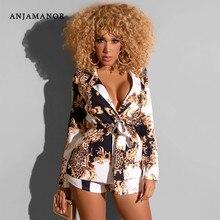 ANJAMANOR, модный Леопардовый принт, длинный рукав, комплект из двух предметов, блейзер с шортами, одинаковые комплекты, сексуальная Осенняя Весенняя Клубная одежда, D59AH36