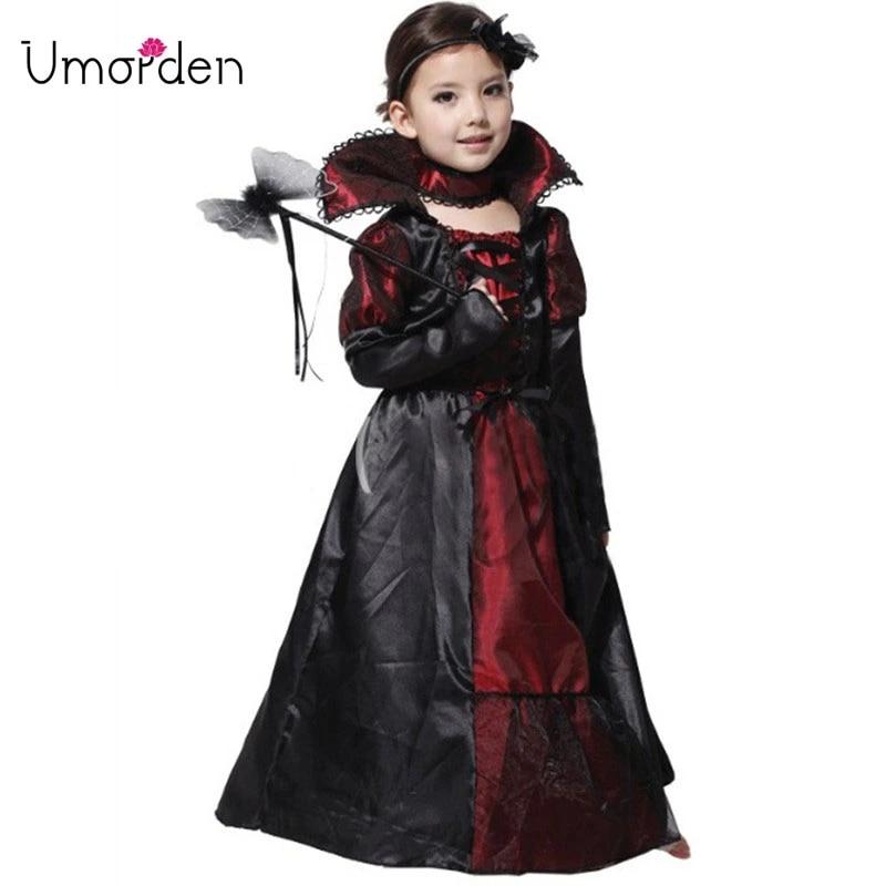 Kids Girls Gothic Vampire Cape Halloween Vampiress Childs Fancy Dress Outfit