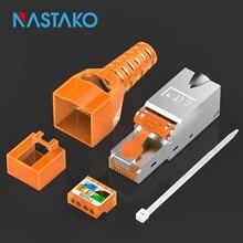 Ferramenta livre rj45 cat7 cat6a conector 8p8c blindado plugue de terminação cat7 plugues modulares ferramenta menos 10g cabo de rede