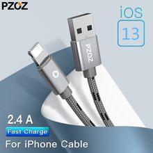 Cabo usb pzoz para carregamento de iphone, fio para iphone 11 pro max x xs xr 7 8 plus se 2020 6 5S ipad air 1 10.2 mini 2 3 4