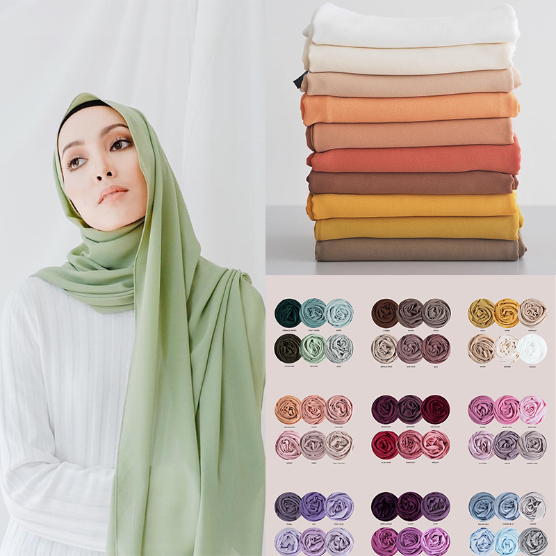 Chiffon muçulmano hijab cachecol feminino 2020 islam cachecóis cor sólida xale cabeça envoltório islâmico hijabs lenço foulard femme musulman