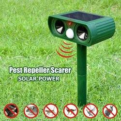 Ультразвуковой отпугиватель животных на солнечной батарее, Репеллент для наружного использования в саду, Репеллент для кошек, собак, лисиц,...