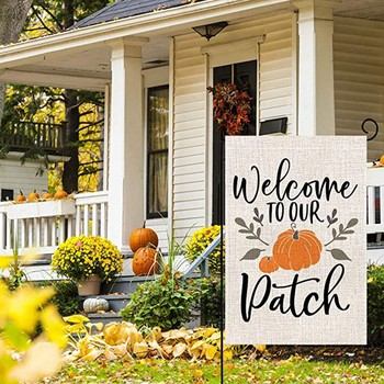 Autumn Pumpkin Welcomes Small Garden Flag Vertical Double Side 12.5 x 18 Inch Wind, weather and fade resistant Machine washable image