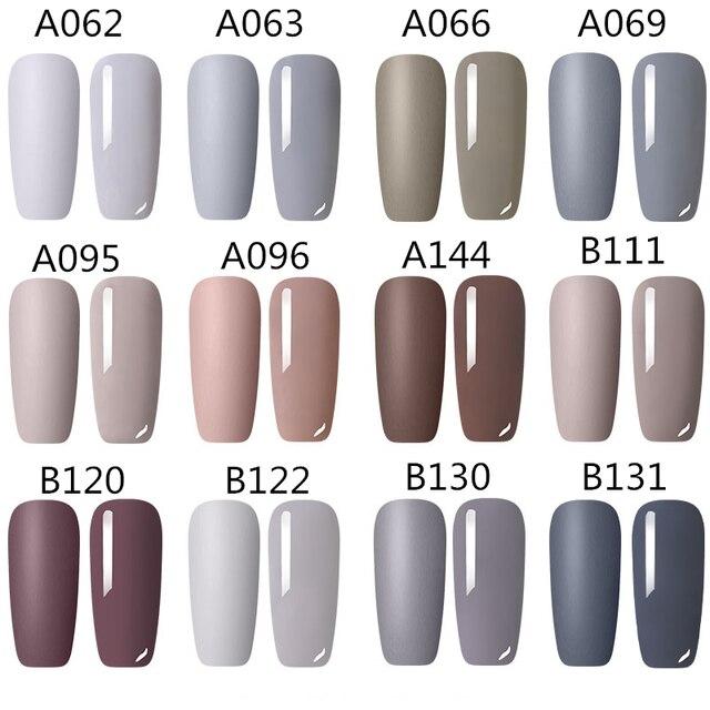LEMOOC 8ml Matte Top Coat Color UV Gel Nail Polish Gray Series Semi Permanent Soak Off UV Gel Varnish DIY Nail Art Gel Paint 1