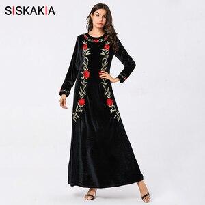 Image 3 - Siskakia vestidos femininos de veludo sólido bordado maxi vestido longo elegante em torno do pescoço manga comprida roupas outono 2019 verde do exército
