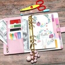 Planificador con cremallera A6, viaje, anilla de revistas cuaderno con espiral y hojas sueltas, carpeta de Macaron, diario, agenda, organizador harphia