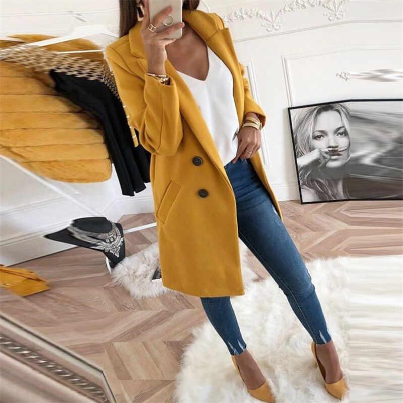Женское Смешанное пальто осень и зима отложной воротник Длинная шерстяная Женская куртка пальто размера плюс женское пальто Повседневная ветровка