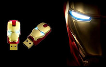 Cool Iron Man Model Usb Flash Drive Usb 2.0 64 Gb 32 Gb 16 Gb 8 Gb 4 Gb Geheugen stick Usb Schijf Oog Licht High Speed Memory Stick(China)