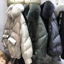 Parker płaszcz 2021 imitacja naturalne futro z lisa kołnierz luźne duże rozmiary biała kurtka puchowa damska kurtka zimowa