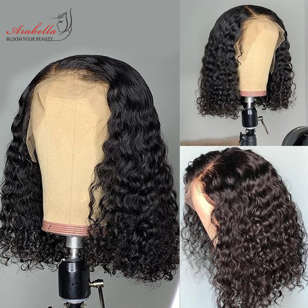Water Wave Bob Wig Lace Front  Wigs Short Bob Wig  Pre Plucked Bleached Knots Wig Water Curly Bob Wig 5