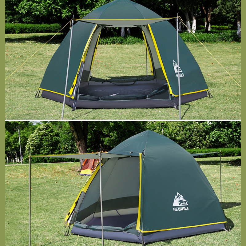 Outdoor Camping Tent Hexagonal Full Automatic Rain-proof Flood Relief Tent Kits 190T Polyester+210D Oxford Cloth For 3-4 People