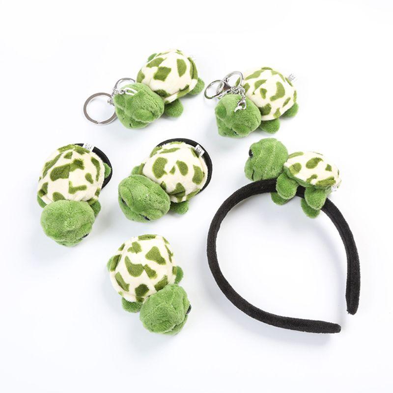 Adult Kids Cartoon Plush Tortoise Turtles Headband Hair Tie Brooch Clip Keychain
