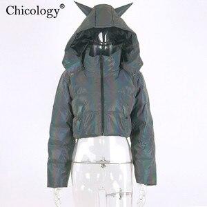 Image 5 - Chicology teufel mit kapuze reflektierende baumwolle padded warme parka frauen crop jacke 2019 winter mantel long sleeve zipper oberbekleidung