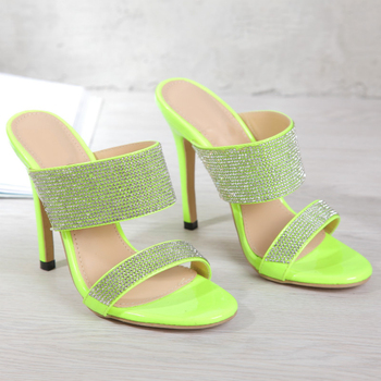 Fashion Rhinestone Plus Size 35-42 Women's Slippers Sandals 2020 Summer Shallow Stiletto High Heels Ladies Slides Women's Shoes 2