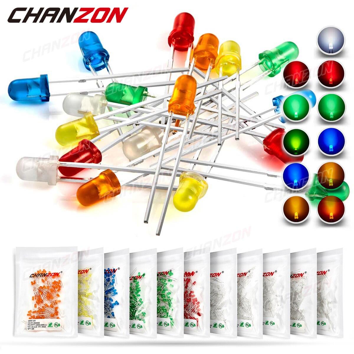 3 мм рассеянные светодиодные диоды в комплекте, лампа, голубое излучение, микро-белый, красный, синий, зеленый, оранжевый, желтый, 3 в, DIY, набор ...