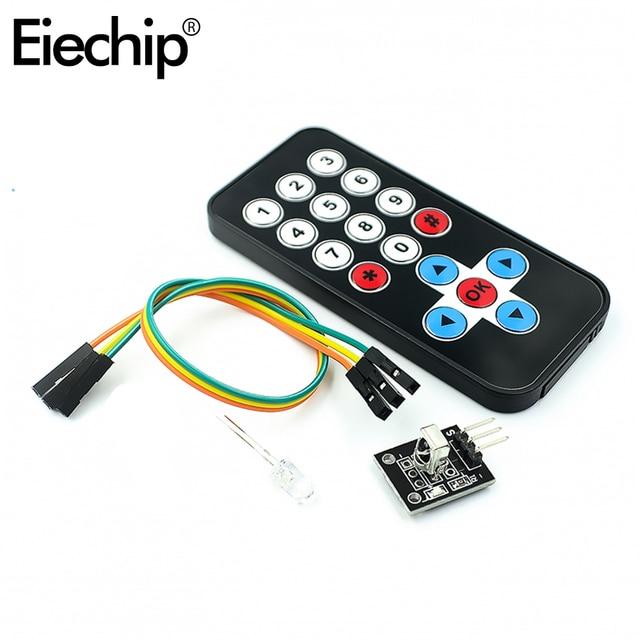 Eiechip 1 ensemble pour Arduino infrarouge IR sans fil télécommande Module Kits kit de bricolage HX1838 pour Arduino framboise Pi carte de commande